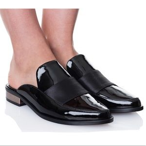 Tibi Denni Loafers in Patent Black Leather